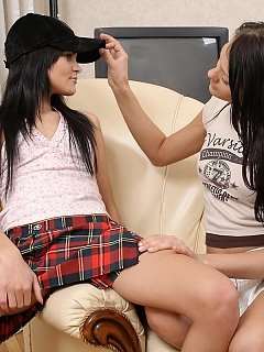 Dark haired cuties nude and finger tight pussies indoors