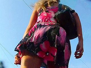 Nude ass up bright dress