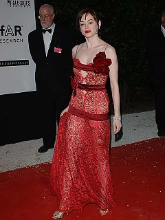 Rose Mcgowan looking very hot in red dress