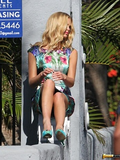 Hot collection of Erin Heatherton upskirt pics at a photoshoot in Miami