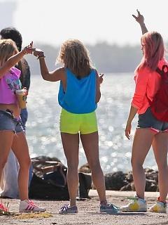 Sexy skanky Vanessa Hudgens is half-naked on the set of Spring Breakers