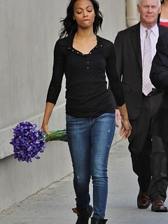 Nice photo gallery of lovely Zoe Saldana caught in different casual outfits