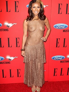 Photo selection of gorgeous Melody Thornton rocking in a see-through gown
