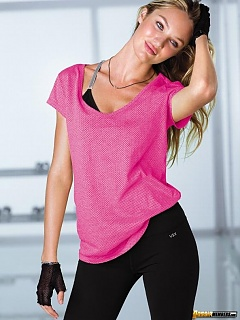 Candice Swanepoel looking hot in Victoria's Secret workout clothes