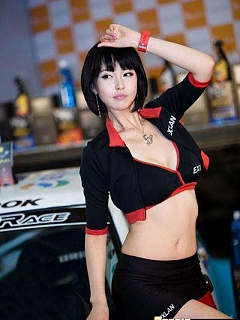 Kang Yui flaunts her milky Asian tits while modeling for car shows