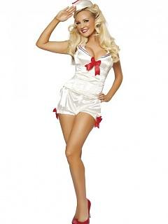 Kinky hottie Bridget Marquardt modeling a sexy Halloween costume line