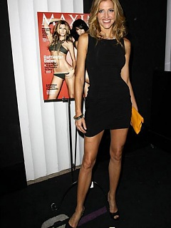 Top Model host Tricia Helfer modeling her plump and erect tits
