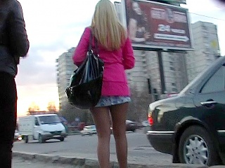Sneak up teen babe's skirt