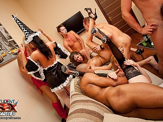 Hot Halloween student sex party