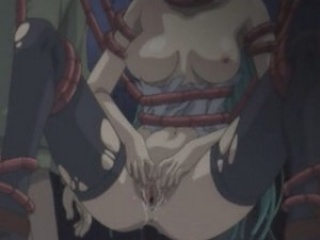 Tentacles penetrate every hole of poor babe in hentai