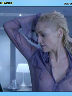 Sharon Stone showcases her amazing T&A and some upskirt bush